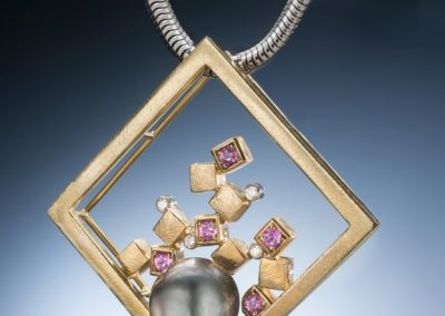 gold square frame tahitian pearl pink sapphires diamonds